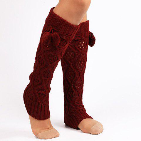 Small Ball Flanging Infinity Knitted Leg Warmers - DEEP RED