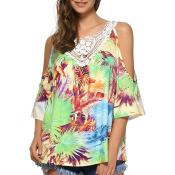 Buy Tropical Print Open Shoulder Lace Crochet Blouse COLORMIX