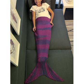 Stylish Stripe Knitted Mermaid Tail Design Blanket For Kids -  PURPLE