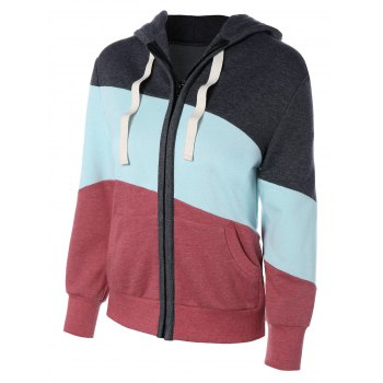 Long Sleeve Drawstring Patchwork Zip Up Hoodie