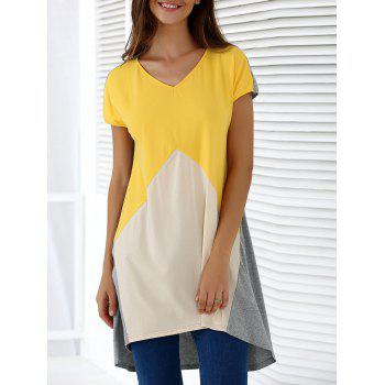 Fashionable Women's V-Neck Short Sleeve Contrast Color Loose-Fitting Blouse