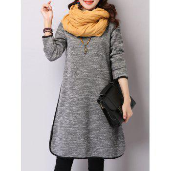 Turtleneck Long Sleeve Slit Warm Fleeced Dress