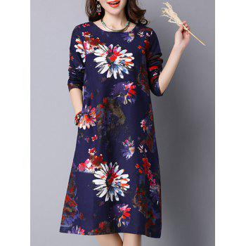 Long Sleeve Daisy Floral Print Linen Dress