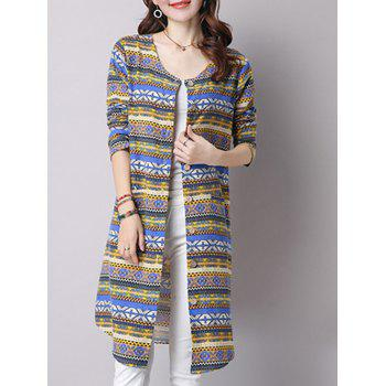Geometric Stripe Print Slim Fitted Long Coat