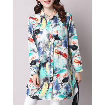 Long Sleeve Graffiti Print Dress Shirt