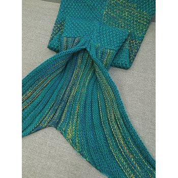 Stylish Stripe Knitted Mermaid Tail Design Blanket For Kids -  GREEN BLUE