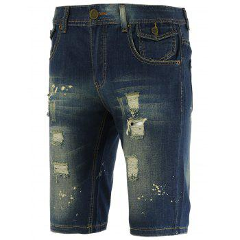 Zipper Fly Scratched Knee Length Ripped Denim Shorts