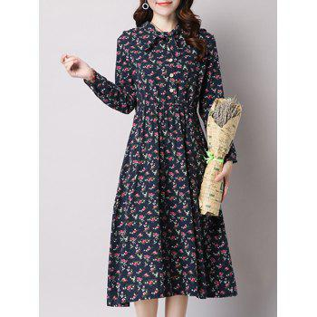 Long Sleeve Tiny Floral Printed Elastic Waist Midi Dress