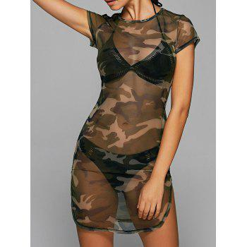 Camo Print Mesh See Through Slit Mini Dress
