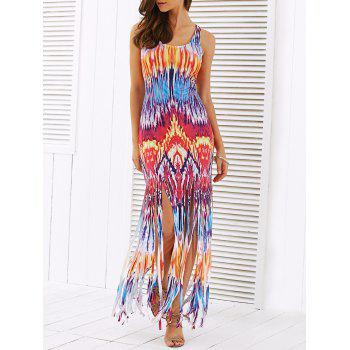 Multi Color Print Fringe Summer Dress