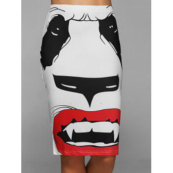High Waisted Dog Face Sheath Skirt