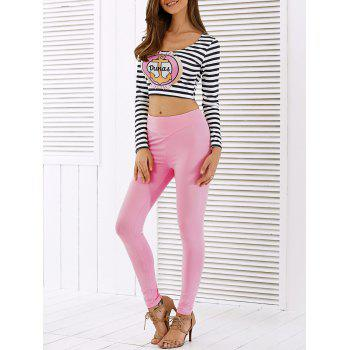 Long Sleeve Stripe Anchor Crop Top Skinny Pants Twinset PINK
