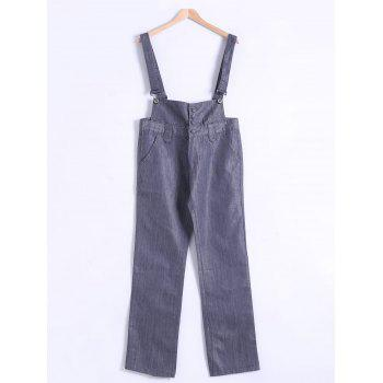 Plus Size Buttoned Overall Pants