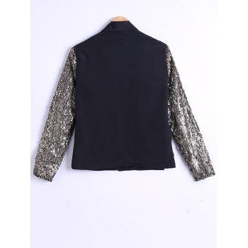 Single-Buttoned Sequined Sleeves Blazer - BLACK M
