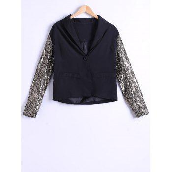 Single-Buttoned Sequined Sleeves Blazer - BLACK BLACK