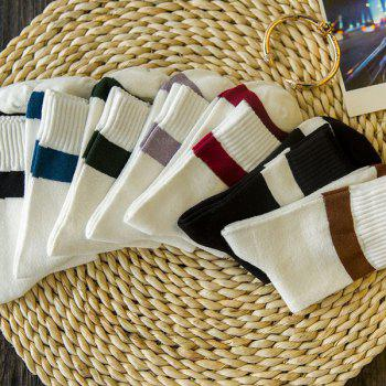 7 Pairs of Concise Stripe Pattern Soft Sport Socks
