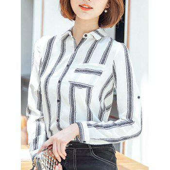 Striped Buttoned Slimming Shirt