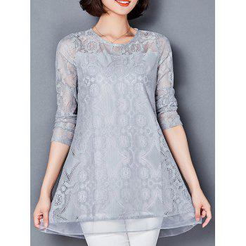 Loose See-Through Openwork Lace Blouse