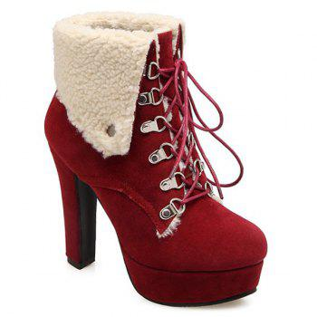 Tie Up Suede Platform Short Boots