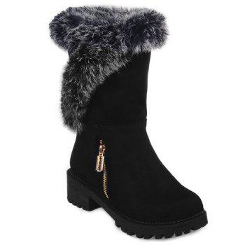Zipper Suede Faux Fur Mid Calf Boots