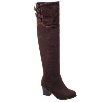 Suede Zipper Double Buckle Thigh Boots