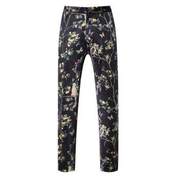 Zipper Fly Floral Print Button Pocket Pants