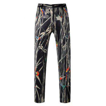 Zipper Fly Bird Print Button Pocket Pants
