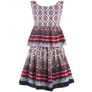 Printed Flounce Tank Top + A-Line Skirt Twinset