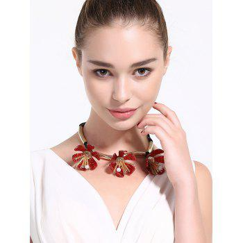 Alloy Floral Beads Rope Necklace