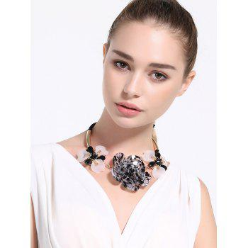 Faux Crystal Alloy Floral Bowknot Necklace