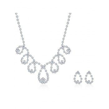 Rhinestoned Water Drop Bridal Jewelry Set