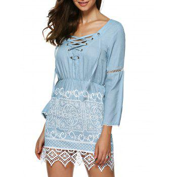 Lace Trim Mini Denim Dress