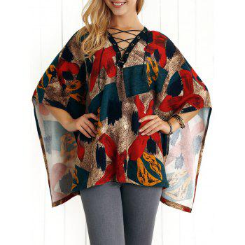 Lace-Up Print Cape Blouse