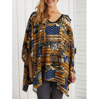 Asymmetric V Neck Cartoon Print Knitwear