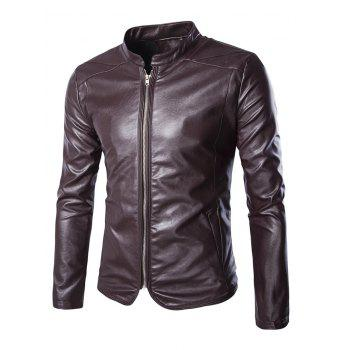 Stand Collar Slim-Fit Faux Leather Biker Jacket