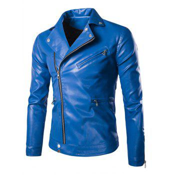 Side Zipper-Up Slim-Fit Faux Leather Jacket