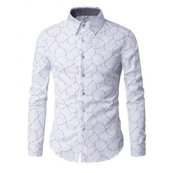 Long Sleeve Abstract Pattern Slim-Fit Shirt