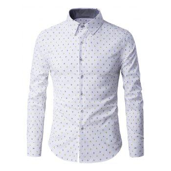 Button-Up Long Sleeve Rhombus Pattern Shirt