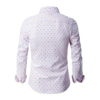 Button-Up manches longues Rhombus Motif shirt - ROSE PÂLE 2XL