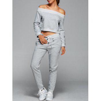 Off The Shoulder Sweatshirt With Pants Gym Outfits