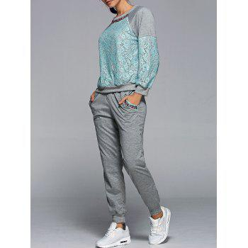 Lace Spliced Sweatshirt With Pants Twinset