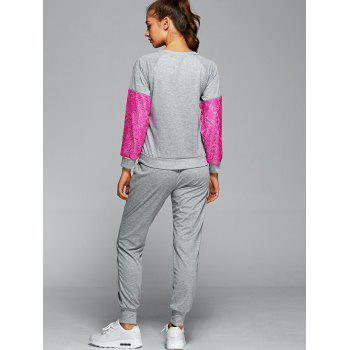 Sweat à encolure en dentelle avec pantalons de jogging courants - rose L