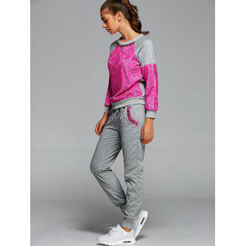 Lace Spliced Sweatshirt With Running Jogger Pants - ROSE RED S