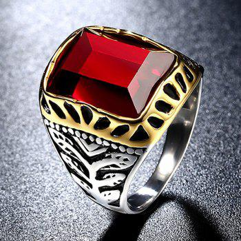 Titanium Steel Faux Ruby Ring