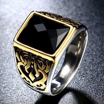 Faux Gem Titanium Steel Geometric Ring