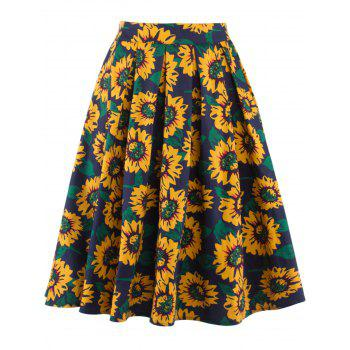 Sunflower Print High Waist Skater Skirt