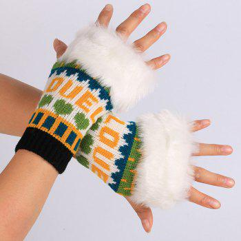Warmer Knitted Love Letter Plush Fingerless Gloves