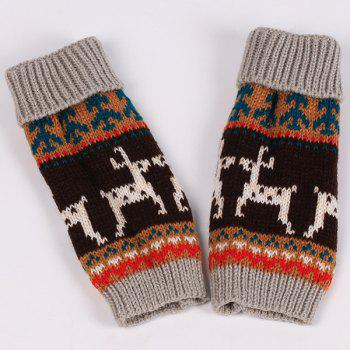 Pair of Knitted Fingerless Deer Splicing Warm Gloves - GRAY
