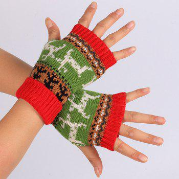 Pair of Knitted Fingerless Deer Splicing Warm Gloves