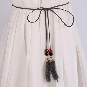 Dress Match Double Bead and Plush Tassel Waist Rope